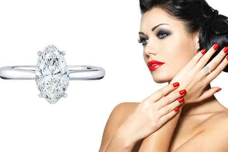 Diamond Style - White Gold Plated Marquise Ring - Save 50%