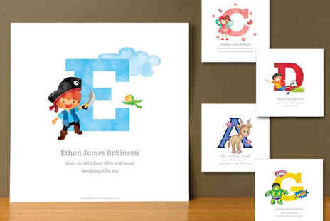 Childrens Name Print - Personalised Animal, Pirate, Fairy, Football, or Superhero Name Initial Print - Save 72%