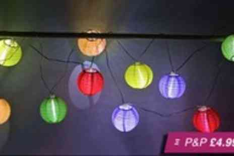 Snippick - String of solar powered colour LED lanterns - Save 69%