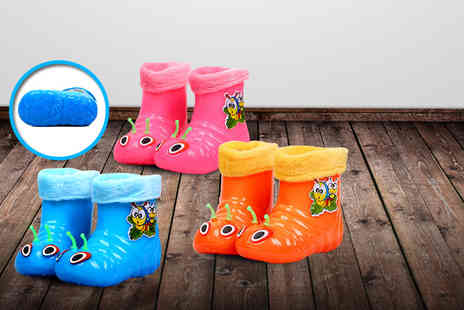 Suga Rush Love - Pair of kids caterpillar bug wellies in a choice of three colours - Save 60%