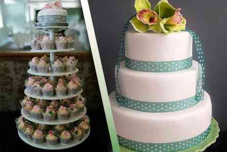 Vanilla Nova - 100 wedding cupcakes on a tiered stand  - Save 50%