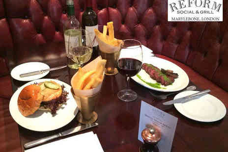 Reform Social and Grill - Butcher's Steak or a Lobster Burger with Chips and a Bottle of Wine to Share for Two  - Save 50%