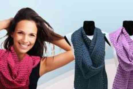 A Shu.co.uk - Two luxury over-sized chunky knit scarves with a choice of six colours - Save 60%