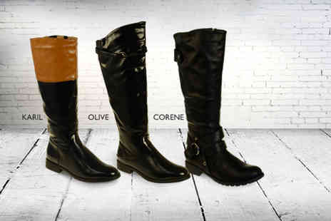 Linzi - Pair of faux leather riding boots in a choice of 8 styles and a range of sizes - Save 44%