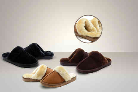Suga Rush Love - Pair of leather and faux sheepskin slippers - Save 79%