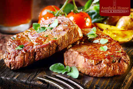 Annfield House - Sirloin Steak, Chips, Onion Rings, Grilled Mushrooms, and Tomato with Glass of Wine Each for Two  - Save 53%