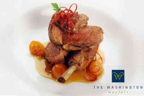 The Washington Mayfair Hotel - Three Course Set Lunch or Dinner For Two With Champagne for £25 at Mayfair 4 Star Deluxe Hotel (£57.90 Value) - Save 57%