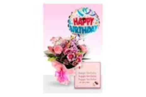 Delightful Bouquets - Pink Cerise Bouquet with birthday balloon & chocolates  - Save 20%