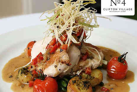 No4 Clifton Village - Starter, Main and Glass of Prosecco Each for Two  - Save 49%