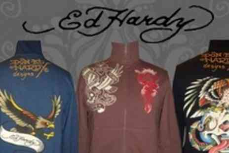 Born on the Streets - Three Ed Hardy Zip Up Tops in Choice of Designs - Save 88%