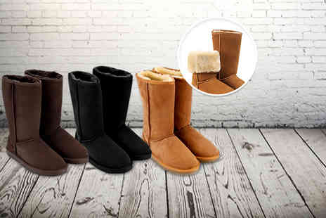 Suga Rush Love - Pair of leather sheepskin style snow boots - Save 61%