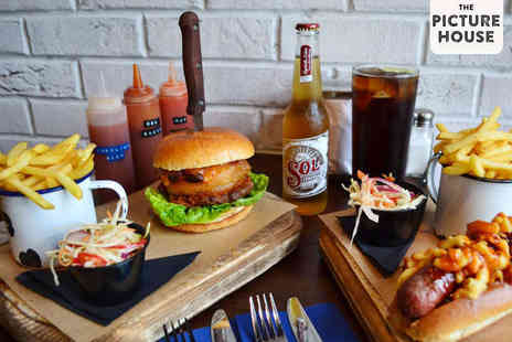 The Picture House - Burger or Hot Dog with Fries and a Beer or Soft Drink Each for Two - Save 62%
