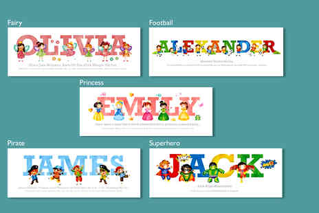 Frame My Name - Childrens personalised Little Adventurers name print - Save 72%