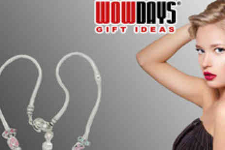 Wowdays - Exquisite Pandora style Silver Charm Necklace with 12 elegant charms - Save 74%