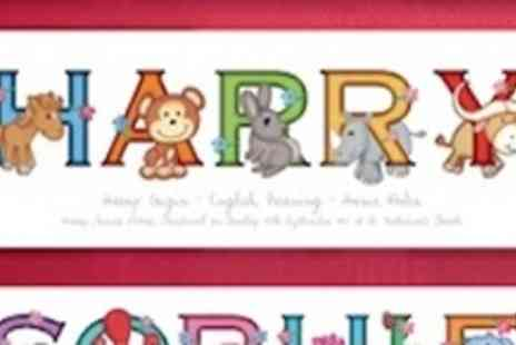 Frame My Name - Animal adventures personalised baby name prints - Save 50%