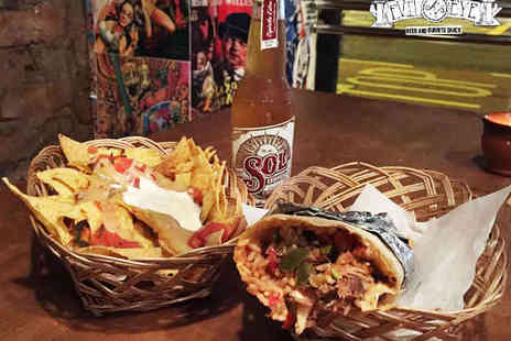 Evil Eye Beer - Burrito, Side Dish, and Bottle of Beer or Soft Drink Each for Two - Save 54%