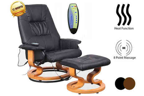 Sonic Online - Genuine Leather Massage Recliner Chair and Foot Stool - Save 57%