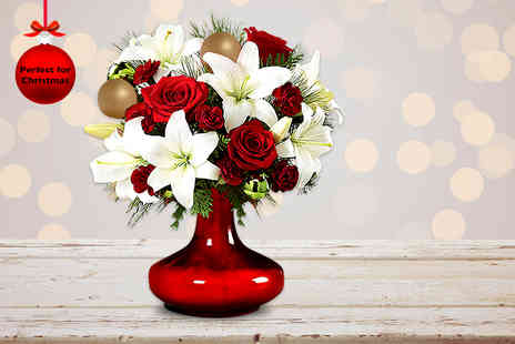 Posy Bouquets - Hand tied and gift wrapped festive bouquet of red roses and white lilies - Save 63%
