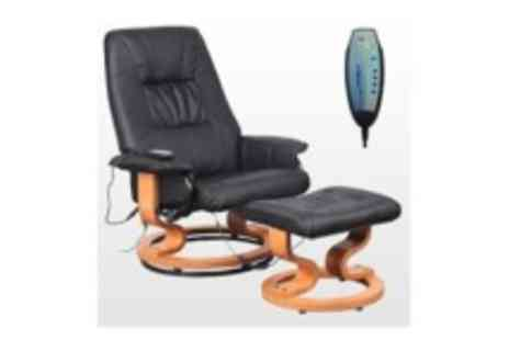 Sonic Online  - Black Tuscany recliner with heat & massage function Plus footstool - Save 57%
