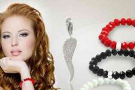 Lizbet 21 - Two stunning glass bracelets with a silver charm link and wing charm - Save 73%