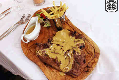 Station 22 - T Bone Steak Meal for Two - Save 61%