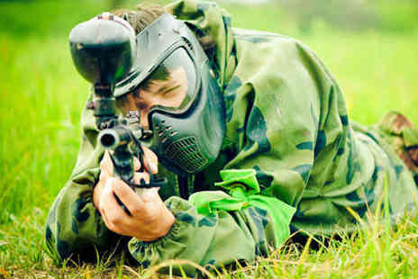Skirmish Paintball Games - Full Day of Paintballing with One Paint Pot Each, Smoke Grenade, Equipment Hire, and Lunch for Two  - Save 92%