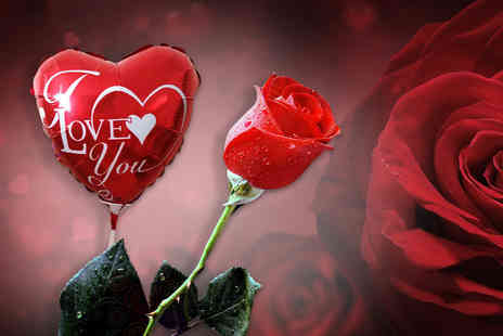 Posy Bouquets - Single rose and I Love You balloon - Save 68%