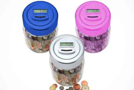 Saproducts - Digital Coin Counting Jar in Silver, Blue, or Pink - Save 70%