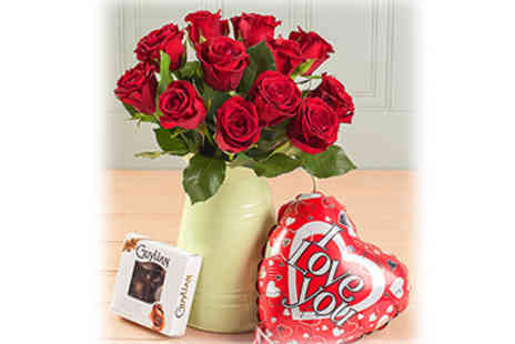 Blossoming Gifts - Valentines Day Bouquet, Chocolates & Balloon - Save 50%