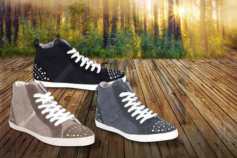 Eden Wear - Pair of faux suede stud detail trainers, choose from 3 colours  - Save 67%