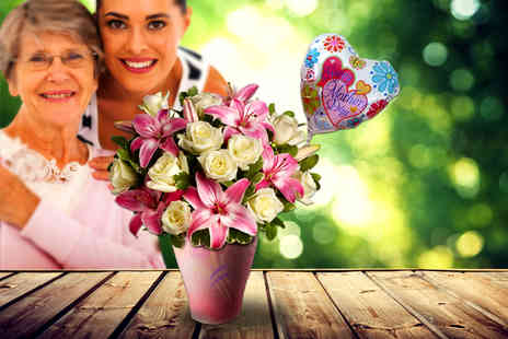 Posy Bouquets - Hand tied lily and rose bouquet and a helium balloon - Save 60%