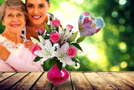 Posy Bouquets - Hand tied rose & lily bouquet and a balloon - Save 60%
