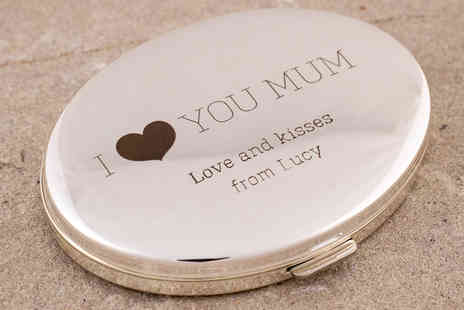 Getting Personal - Engraved Oval Silver Compact Mirror  - Save 47%