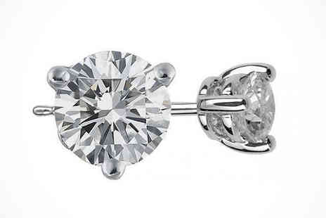 Mazal Diamond  - White Gold Round Diamond Earrings 0.10 Carat, Delivery Included - Save 78%
