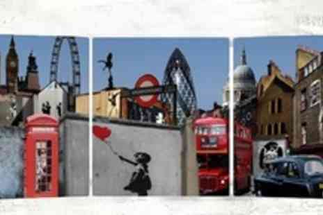 Canvas Town - Three Piece Panoramic Banksy Photo Print - Save 65%