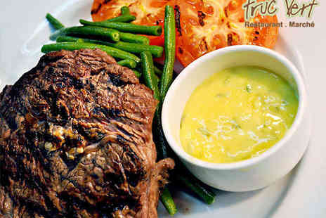Truc Vert - Steak Main Course Including Frites, Mixed Salad, and Béarnaise Sauce for Two with a Glass of Wine Each - Save 53%