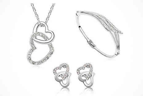 AthenaFashion  - Crystal Heart Three Piece Set, Delivery Included - Save 86%