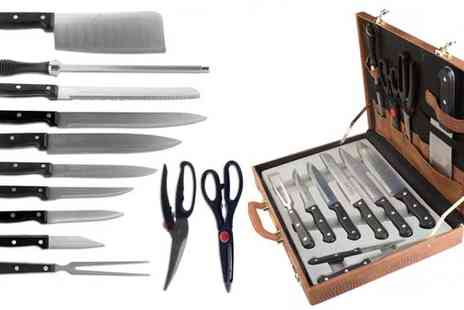 Delizius Deluxe - 13pc Kitchen Knife Set in Carrying Case - Save 36%