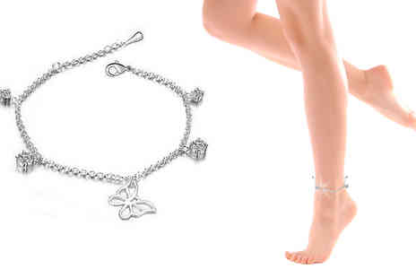 Finishing touch - Butterfly Crystal Anklet - Save 86%