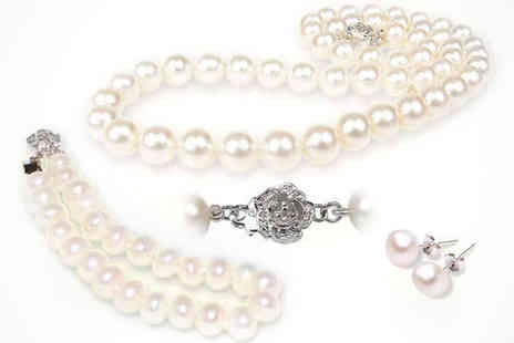 athenae store - Freshwater Cultured Pearl Jewellery Set Including Necklace, Bracelet, and Earrings, Delivery Included - Save 85%
