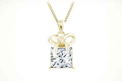 Diamond Style - Swarovski Elements Gift Box Pendant White or Yellow Gold Plated, Delivery Included - Save 89%