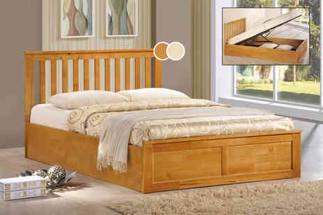 Mattress Shed - Double oak ottoman storage bed  - Save 60%
