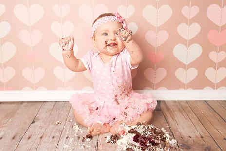 "TRENDY ART -  Two cake smash baby photoshoots including two 12"" x 12"" prints  - Save 96%"