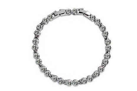 Finishing touch - 18K Platinum Plated Crystal Bracelet - Save 85%