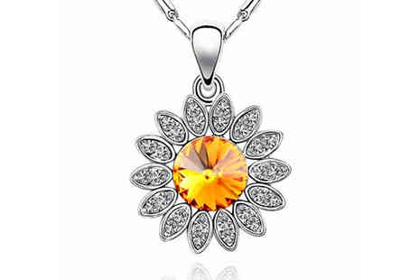 Finishing touch - Sunflower Crystal Necklace - Save 85%