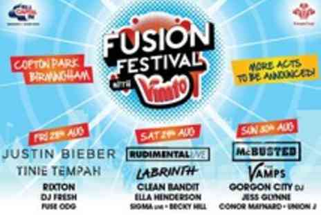 Stonegate - Tickets to Fusion Festival featuring Justin Bieber, Rudimental and McBusted - Save 0%