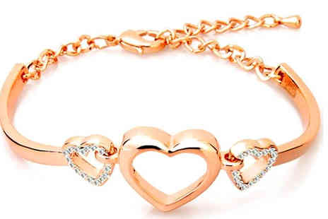 Finishing touch - 18K Gold Plated Heart Bracelet - Save 85%