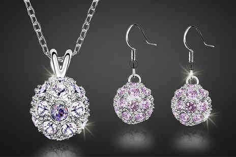 Finishing touch - Violet Orb Crystal Jewellery Set - Save 0%