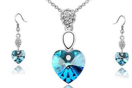 Crazee Trend - Colourful Crystal Heart Jewellery Set - Save 88%