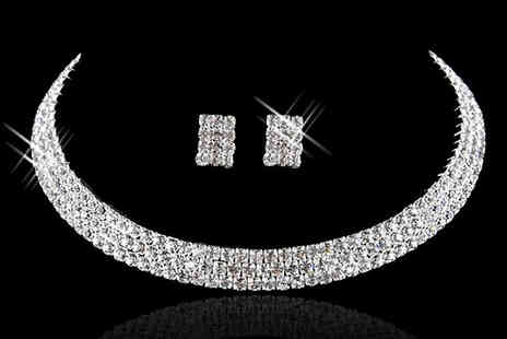 Crazee Trend - Crystal Choker and Earrings Set - Save 81%